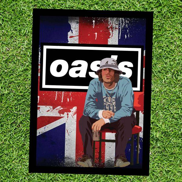 Liam Gallagher Oasis Wall Art Print - on Grass - Portrait - MaadWeb