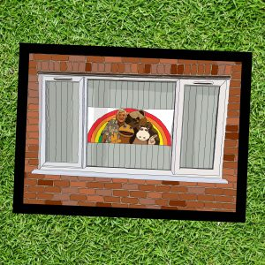 Stay Safe, Be Strong - Rainbow in Your Windows - Wall Art Print - On Grass - MaadWeb
