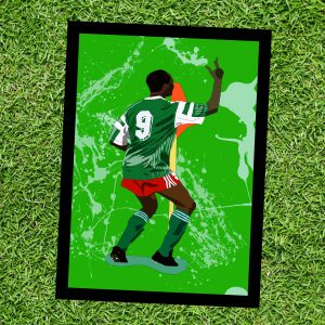 Inspired by Roger Milla - Cameroon - World Cup Heroes - Wall Art Print - On Grass - MaadWeb