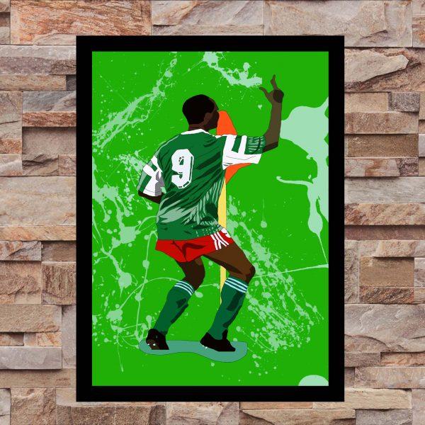Inspired by Roger Milla - Cameroon - World Cup Heroes - Wall Art Print - On Wall - MaadWeb