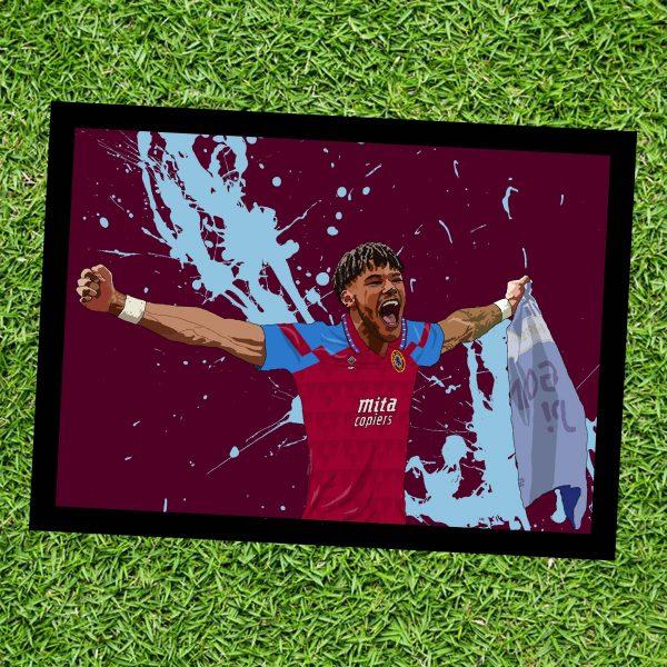 Tyrone Mings Wall Art Print - on grass - Aston Villa AVFC - MaadWeb
