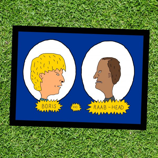 Boris and Raab-Head - Inspitred by Boris Johnson and Dominic Raab - Wall Art Print- on Grass - MaadWeb