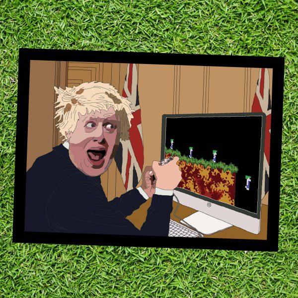Boris Johnson playing Lemmings - Wall Art Print - on Grass - MaadWeb