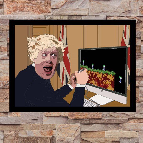 Boris Johnson playing Lemmings - Wall Art Print - on Wall - MaadWeb