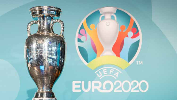 Image of Euro 2020 trophy and backdrop