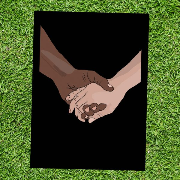 Oneness - Two Hands Holding - Wall Art Print - On Grass - MaadWeb