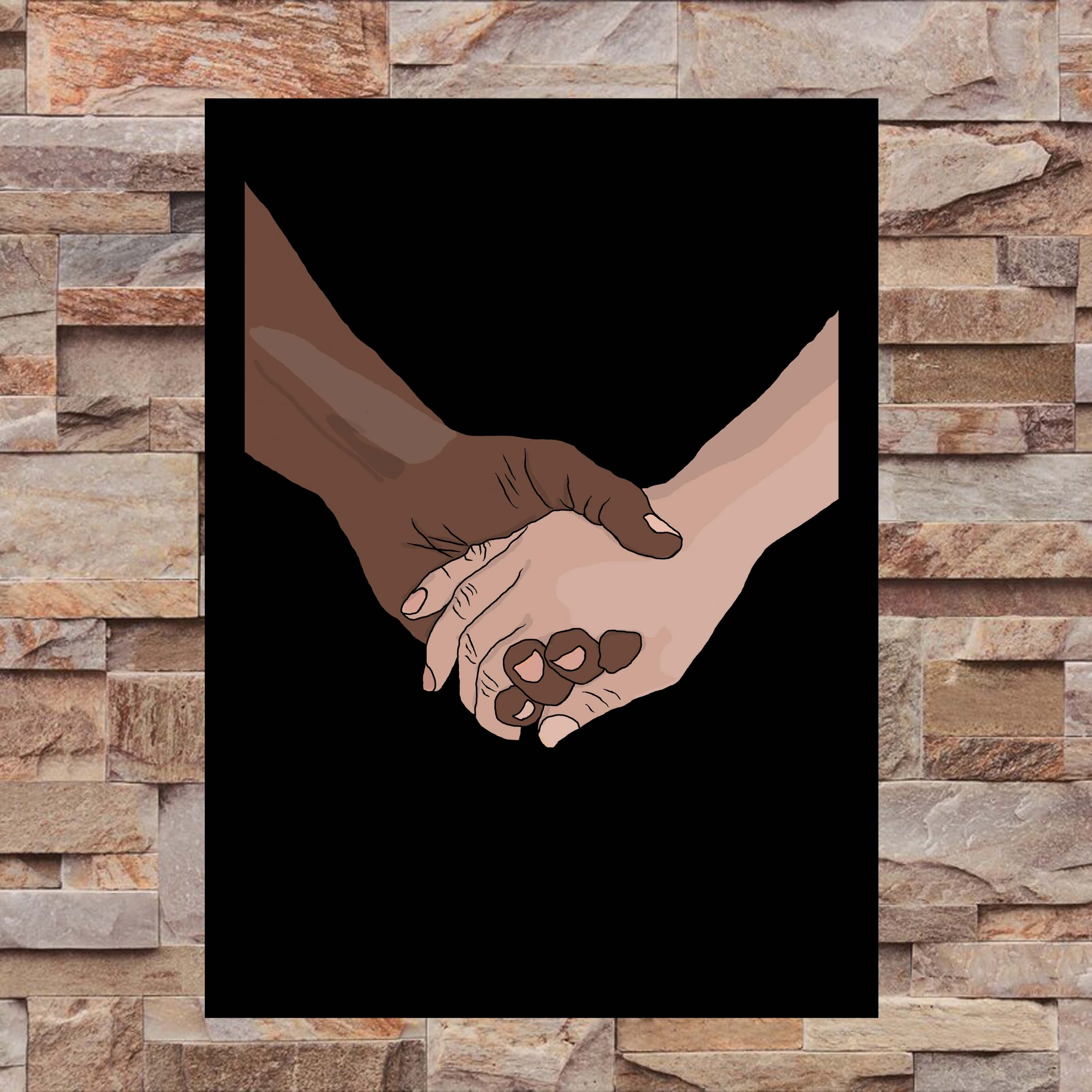 Oneness - Two Hands Holding - Wall Art Print - On Wall - MaadWeb