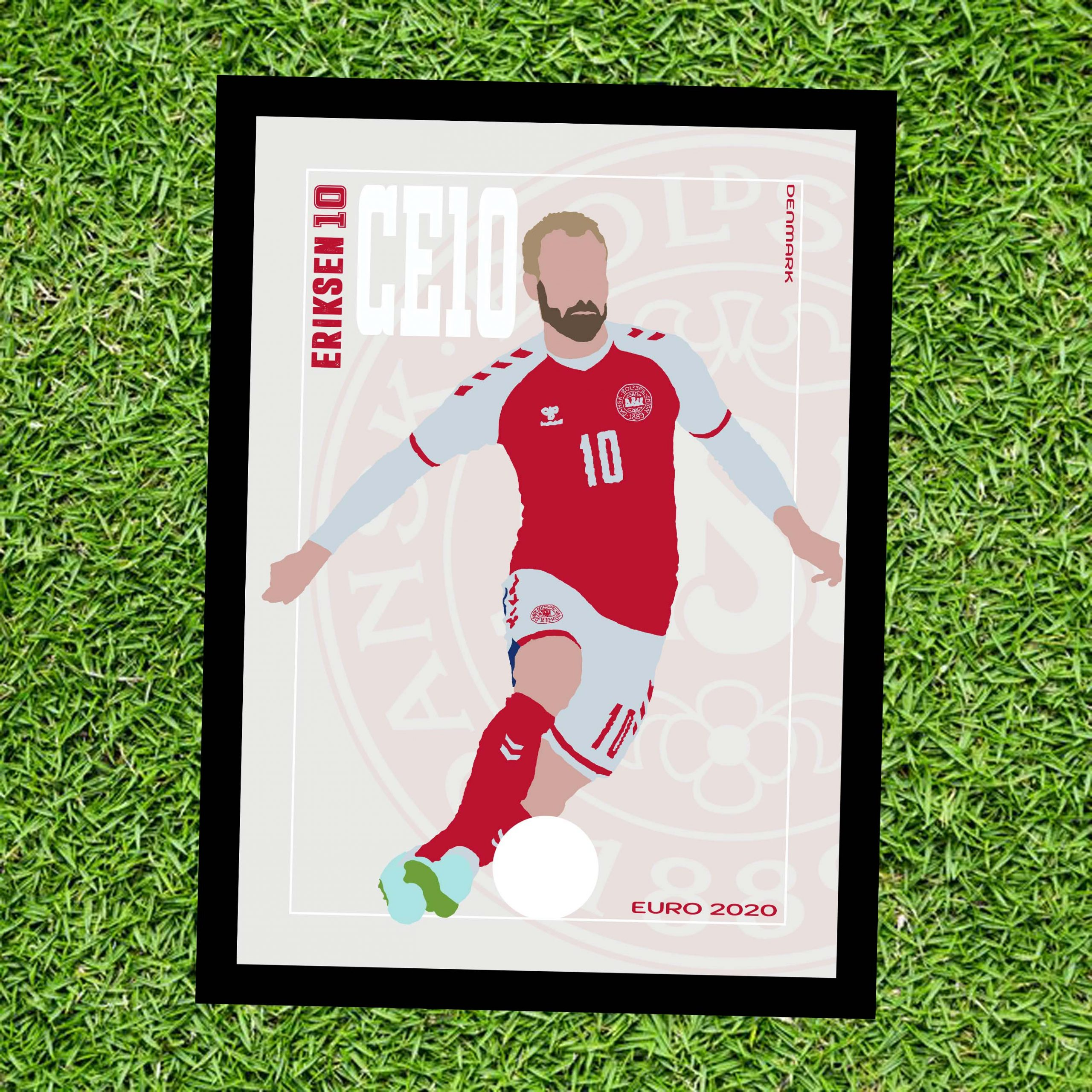 Cristian Eriksen - CE10 - Part of MaadWeb's Euro 2020 Series - Wall Art Print - On Grass - MaadWeb