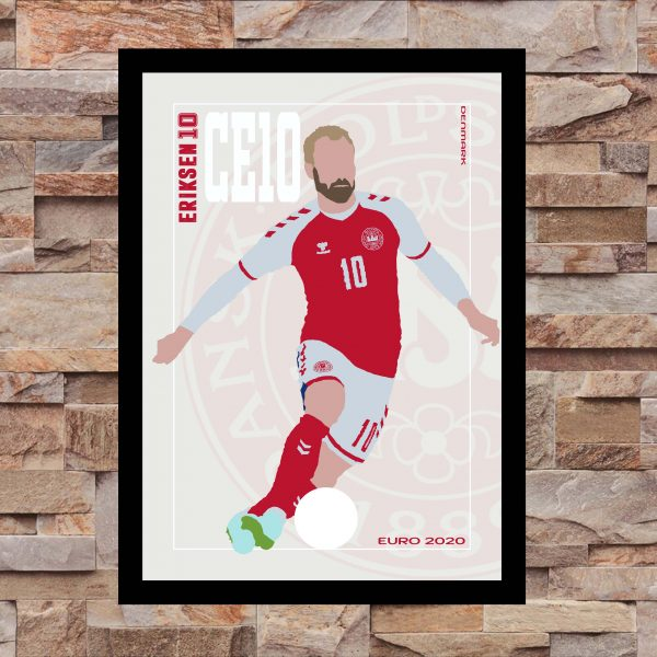 Cristian Eriksen - CE10 - Part of MaadWeb's Euro 2020 Series - Wall Art Print - On Wall - MaadWeb