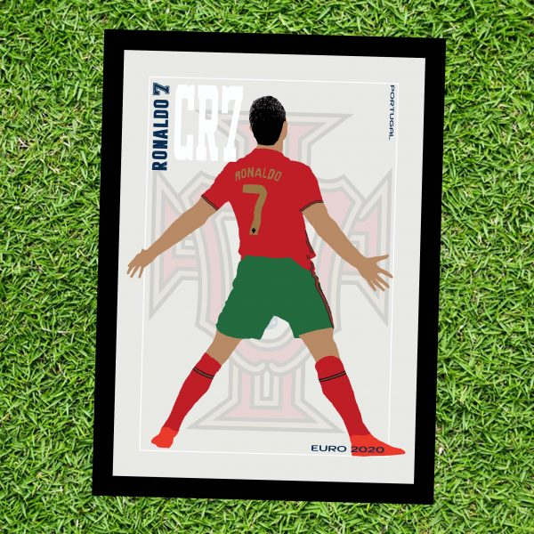 Cristiano Ronaldo - CR7 - Part of MaadWeb's Euro 2020 Series - Wall Art Print - On Grass - MaadWeb