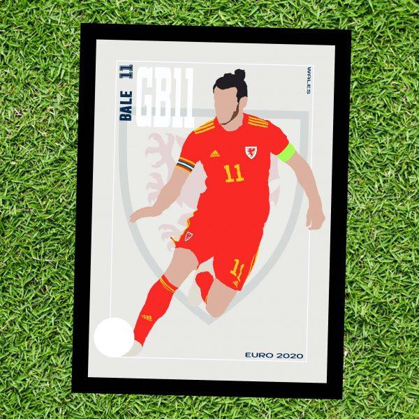 Gareth Bale - GB11 - Part of MaadWeb's Euro 2020 Series - Wall Art Print - On Grass - MaadWeb