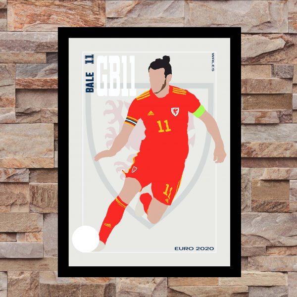Gareth Bale - GB11 - Part of MaadWeb's Euro 2020 Series - Wall Art Print - On Wall - MaadWeb