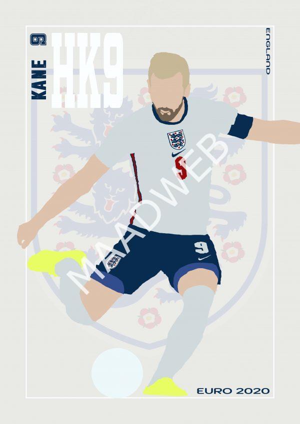 Harry Kane - HK9 - Part of MaadWeb's Euro 2020 Series - Wall Art Print - Full Size - MaadWeb