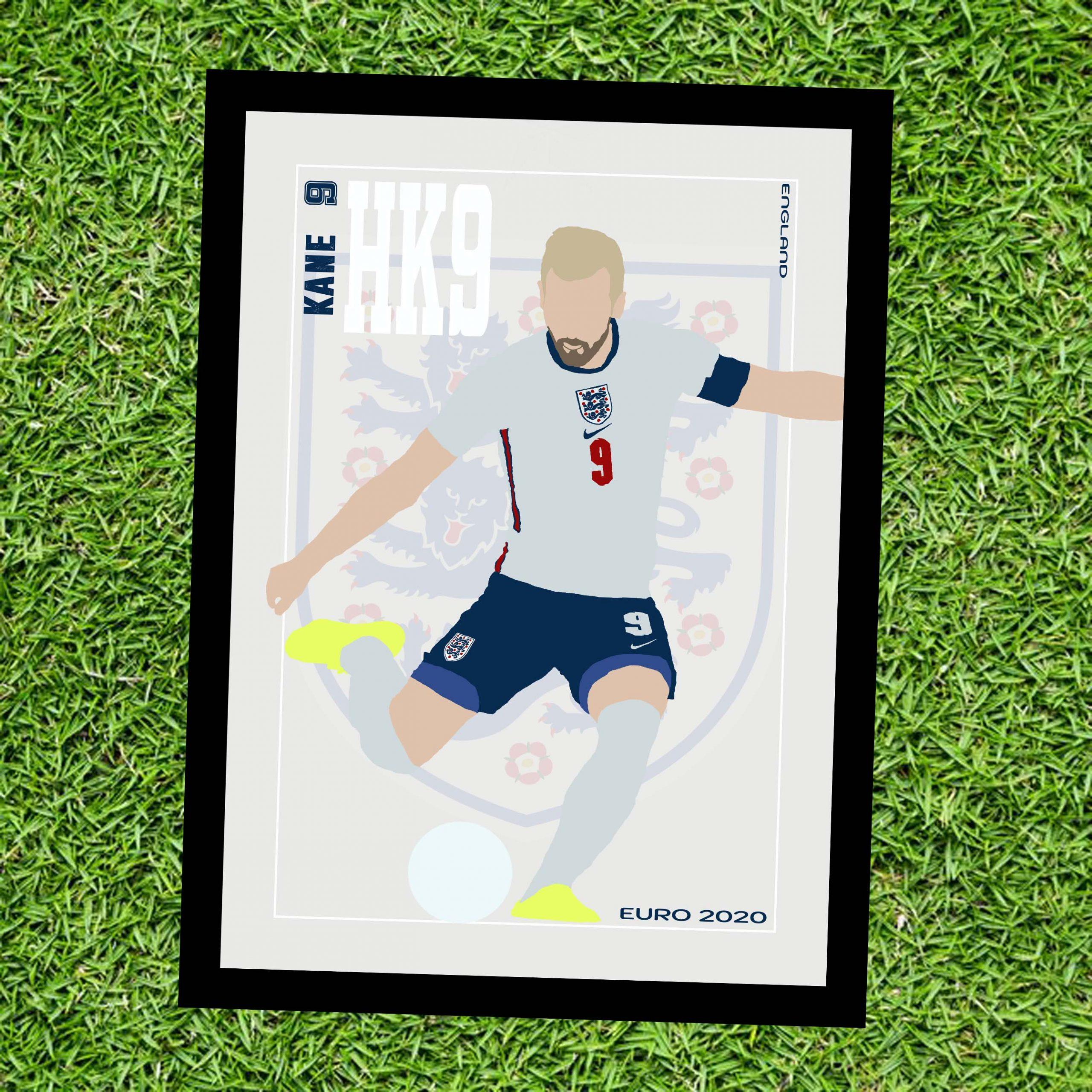 Harry Kane - HK9 - Part of MaadWeb's Euro 2020 Series - Wall Art Print - on Grass - MaadWeb