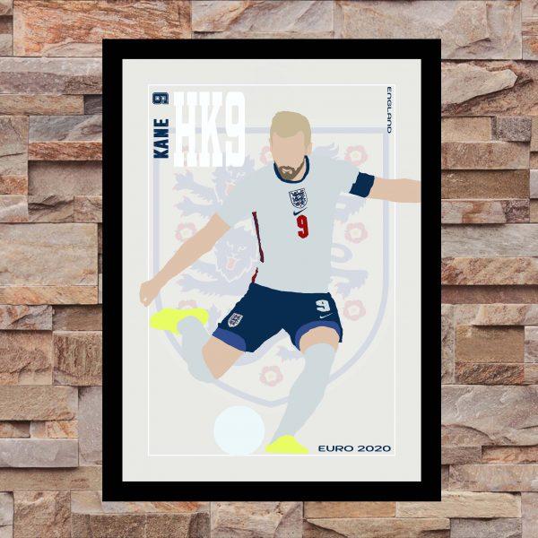 Harry Kane - HK9 - Part of MaadWeb's Euro 2020 Series - Wall Art Print - on Wall - MaadWeb
