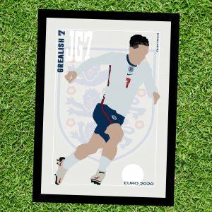 Jack Grealish - JG7 - Part of MaadWeb's Euro 2020 Series - Wall Art Print - On Grass - MaadWeb