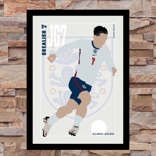 Jack Grealish - JG7 - Part of MaadWeb's Euro 2020 Series - Wall Art Print - On Wall - MaadWeb