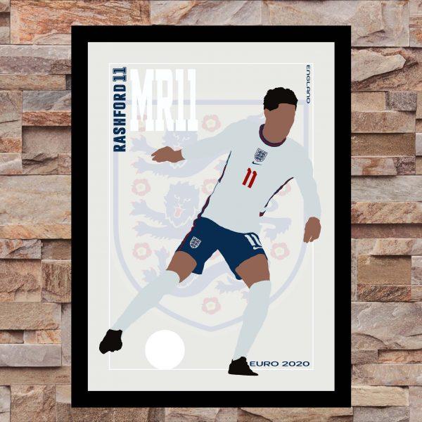 Marcus Rashford - MR11 - Part of MaadWeb's Euro 2020 Series - Wall Art Print - On Wall - MaadWeb