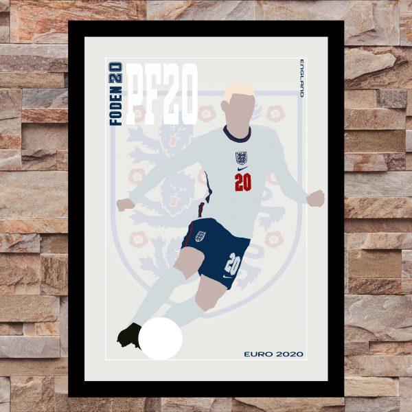 Phil Foden - PF20 - Part of MaadWeb's Euro 2020 Series - Wall Art Print - On Wall - MaadWeb