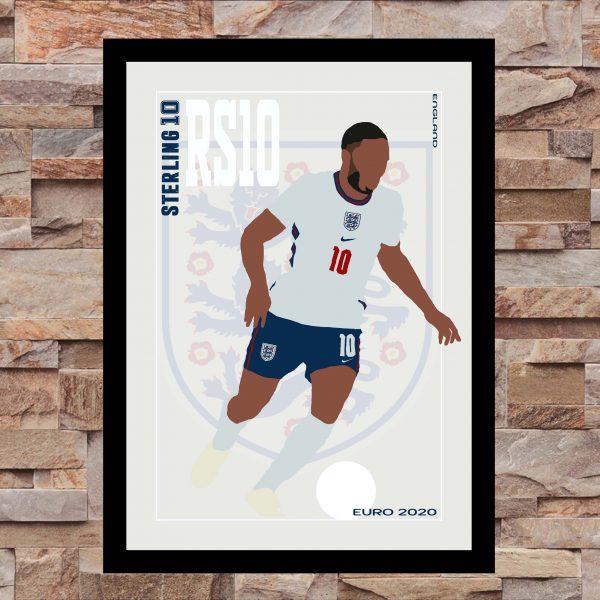 Raheem Sterling - RS10 - Part of MaadWeb's Euro 2020 Series - Wall Art Print - On Wall - MaadWeb