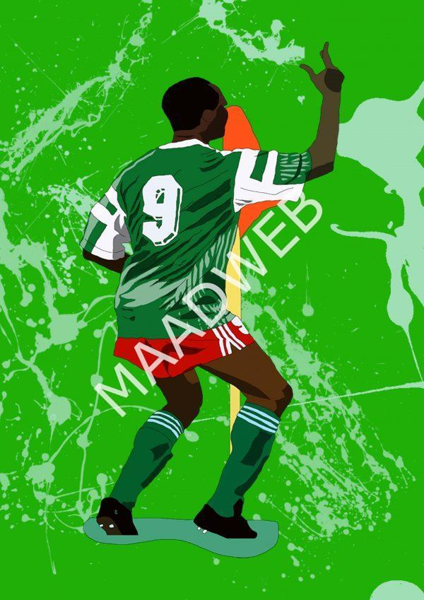 Inspired by Roger Milla - Cameroon - World Cup Heroes - Wall Art Print - full size - MaadWeb