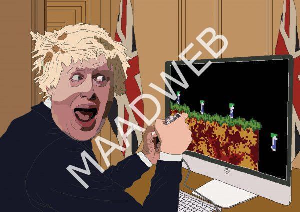 Boris Johnson playing Lemmings - Wall Art Print - full size - MaadWeb