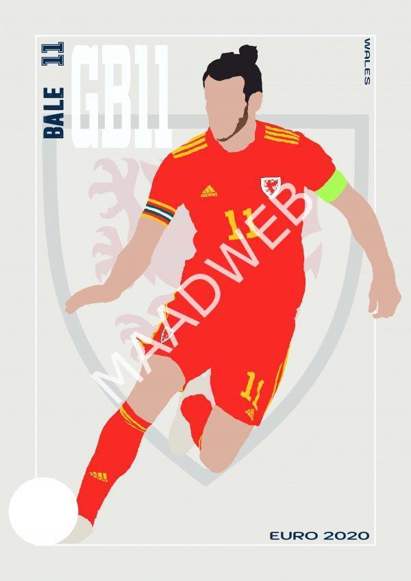 Gareth Bale - GB11 - Part of MaadWeb's Euro 2020 Series - Wall Art Print - Full Size - MaadWeb