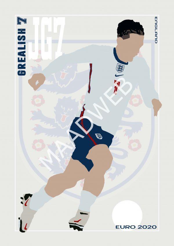 Jack Grealish - JG7 - Part of MaadWeb's Euro 2020 Series - Wall Art Print - full size - MaadWeb