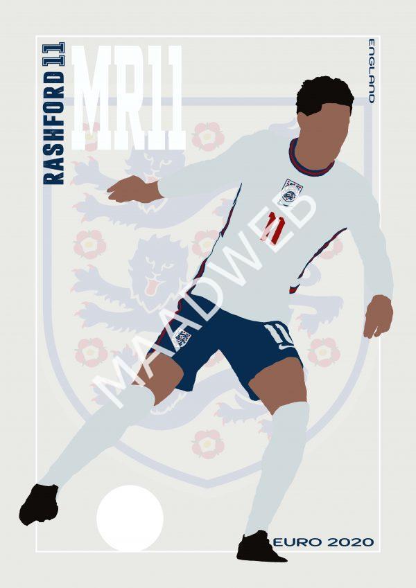Marcus Rashford - MR11 - Part of MaadWeb's Euro 2020 Series - Wall Art Print - Full Size - MaadWeb
