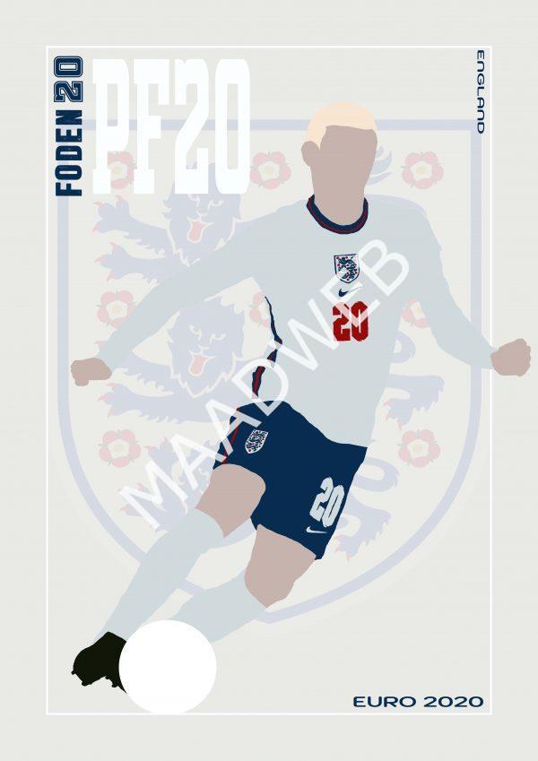 Phil Foden - PF20 - Part of MaadWeb's Euro 2020 Series - Wall Art Print - full size - MaadWeb