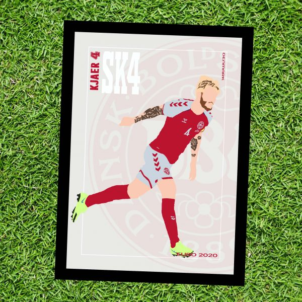 Simon Kjaer - SK4 - Part of MaadWeb's Euro 2020 Series - Wall Art Print - On Grass - MaadWeb