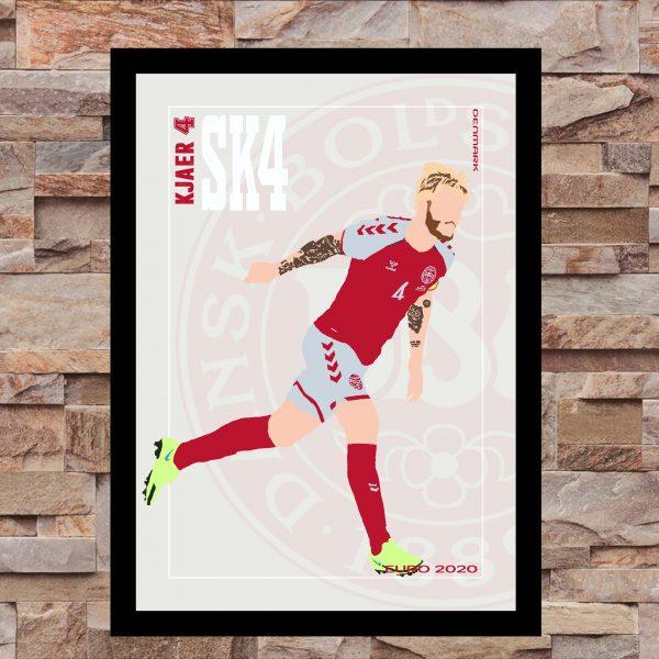 Simon Kjaer - SK4 - Part of MaadWeb's Euro 2020 Series - Wall Art Print - On Wall - MaadWeb